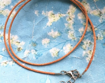 15pcs 16-18 inch adjustable 1.5mm natural brown genuine leather necklace cords with lobster clasps