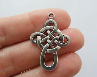 6 Celtic knot cross charms antique silver tone C47