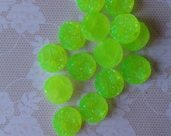 12- Neon Green Resin Druzy Beads 12mm - Set of 12 -Drusy Cabochon Ready to Ship , Jewelry Supplies,No Drilled Holes