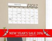 New Year's Sale - Unique Dry Erase Board Decal - 2017 Wall Calendar - Vinyl Wall Sticker