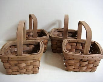 Craft Baskets Fixed Handles Wicker Baskets Lot of 4 Small Craft Baskets