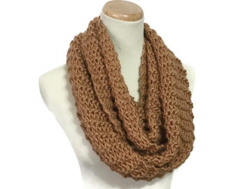 Sale Camel Knit Scarf, Infinity Scarf, Knit Cowl, Brown Scarf, Hand Knit Scarf, Gift For Her, Fiber Art, Neck Warmer, Circle Scarf