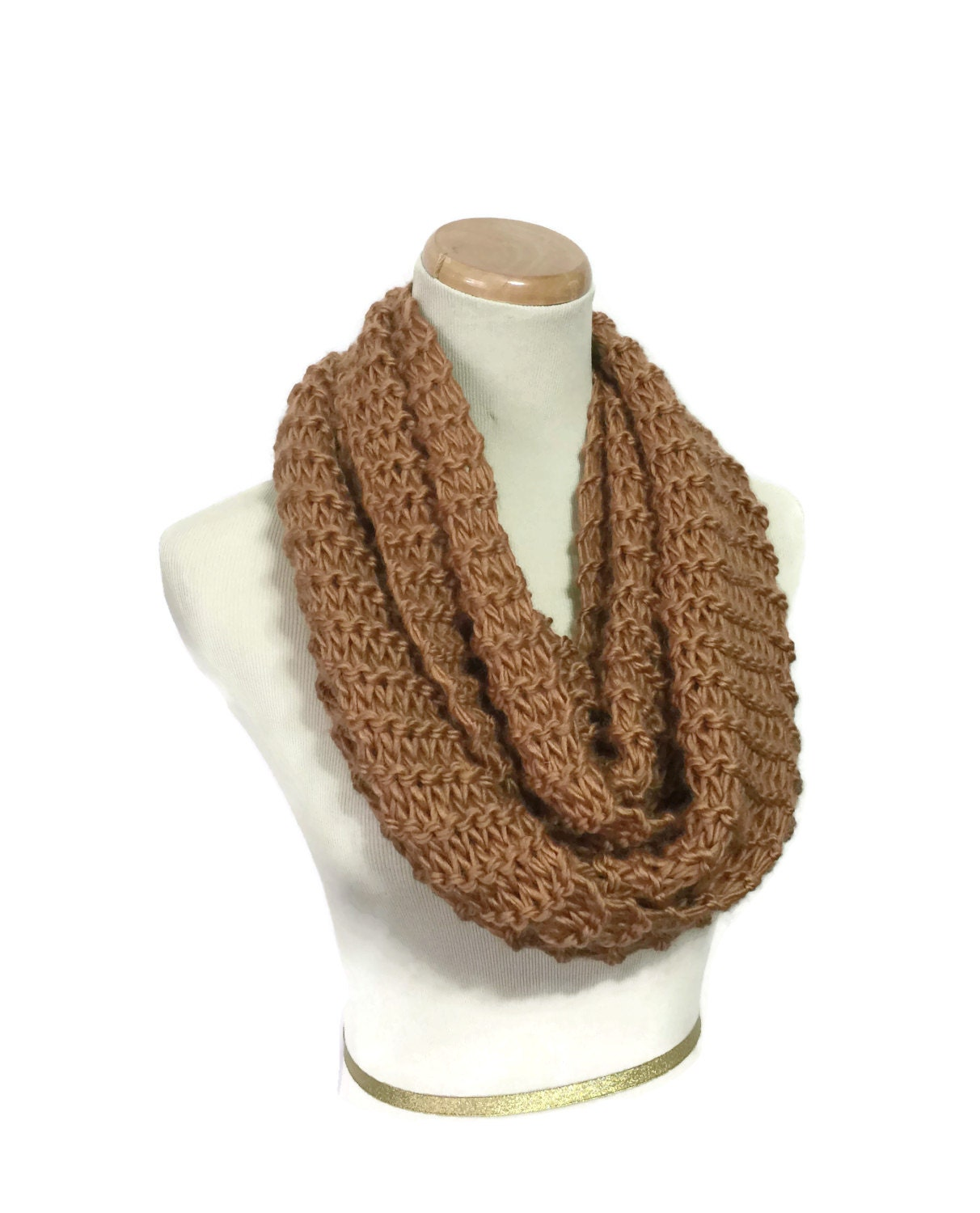 Sale Camel Knit Scarf Infinity Scarf Knit Cowl Brown Scarf