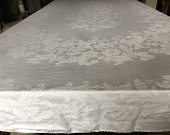 106x80u201d DAMASK Tablecloth WHITE Scrolly Leaves Large Design