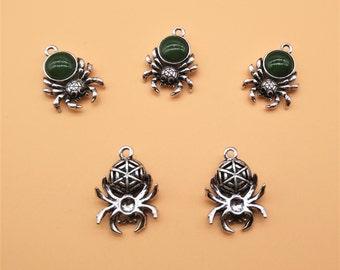 Gemstone Spider Charms - Bug Charm, Antique Silver, Hollow Carved Charm, Gemstone Charm, Metal Charm, Green Gemstone, Green Rhinestone