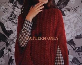 Crochet Pattern Elegant Crochet Cape Jacket Sm/Med/Lg/1x/2x/3x