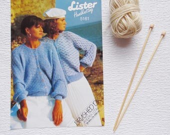Vintage 1980s Knitting Pattern, Lister Handknitting Pattern 5161, size 30-40in (76-102cm), Knitting, Cardigan Pattern