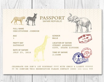 Safari Passport Printable Party Invitation 5x7 or 4x6