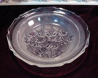 Vintage Jeannette Glass Crystal Iris Herringbone Flat Soup Bowl, Rare Piece, 1920s Depression Glass Dinnerware, Floral Pattern, Pasta Bowl