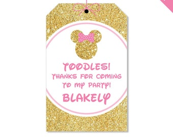 Gold Minnie Mouse Party - Personalized DIY printable favor tags