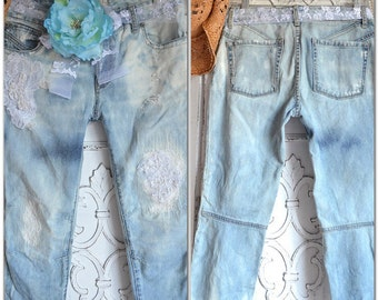 27 ripped boho Women's jeans, Bleached Upcycled Free People Jeans, Bohemian lace, Street style, Festival clothing, True Rebel Clothing