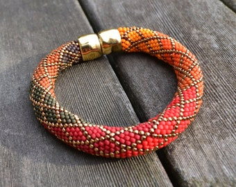 Bead Crochet with Single Stitch Ombre Bracelet Kit Bead Crochet Patterns Bead Crochet Bracelet -Red/Orange & Blue color ways