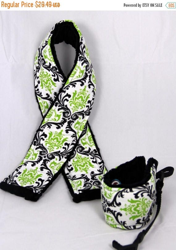 Mothers Day SALE Camera Strap Cover and matching Wrist Strap Set ..  Citrus Lime and Black Damask