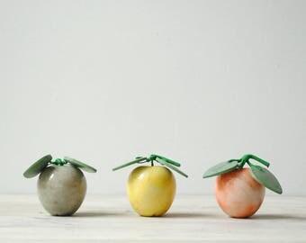 Vintage Marble Fruit, Marble Apples, Mid Century Faux Fruit