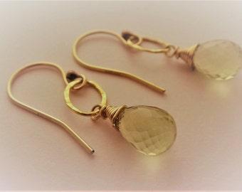 Yellow gemstone earrings, gold gemstone earrings, yellow and gold earrings, lemon quartz earrings, lemon quartz teardrop earrings, handmade