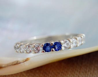 Amy - Stunning 12 stone Sapphire and CZ band, Diamond alternative, anniversary, wedding, engagement ring, promise ring, for her, fashion