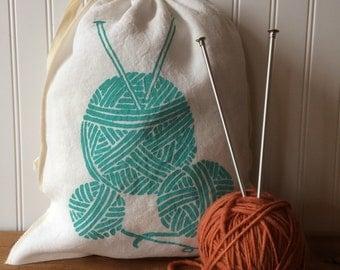 Organic Linen Drawstring Bag, Knitting Project Bag, Yarn Balls Design