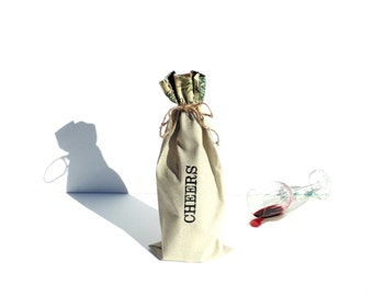 Cheers wine gift bag, embroidered sack, linen gift bag for friend, co-worker, Autumn bag, host gift bag, Thanksgiving Fall