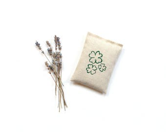 Irish shamrocks, lavender sachet gift, embroidered clover, 4 leaf lucky clover, 5 x 3.5 inch linen sachet, Irish gift