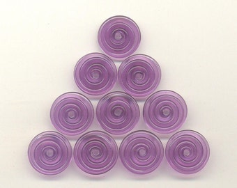 16mm range, Tom's lampwork veiled violet blue 2 disc spacer/drops set, 1 pair 95936-2