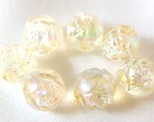 LAST ONE 7 Vintage Clear AB Rosebud Beads, 10mm Acrylic Plastic Beads