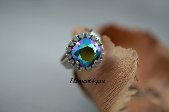 Adjustable ring, Swarovski ring, Sparkly multicolor ring, Peacock shade crystal, Only piece, Antique silver