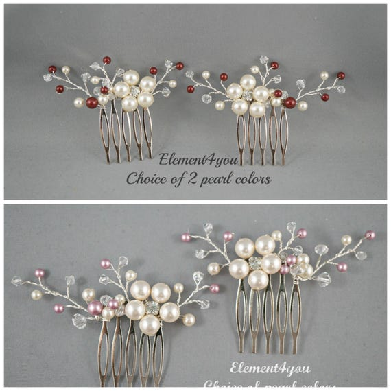 Bridal comb, Wedding hair comb, Set of 2, Ivory champagne pearls hair piece, Wedding hair accessories, Bridesmaid hair comb Unique headpiece