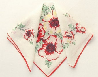 Handkerchief, Red Poppies, Printed Cotton, Vintage