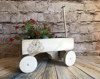 Wood wagon, plant holder, wooden wagon, white wagon, aqua wagon, shabby chic, farmhouse wagon, vintage wagon, painted wagon, garden wagon
