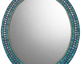 Oval Mosaic Wall Mirror - Turquoise, Mint, Denim
