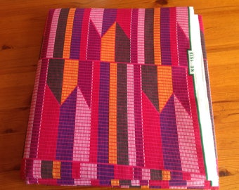 West Africa Kente ethnic purple and pink cotton print fat quarter.