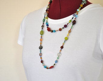 "Beaded NECKLACE - Long 24"" (48"") Multiple Primary Colors Orange Aqua Blue Teal Amber Seed Bead Glass Bead - Goes with Everything Necklace 62"
