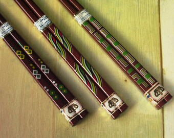 Lacquerware Wooden Chopsticks for Smaller Hands Japanese Vintage Square Chopsticks:  You Choose from 3 Designs