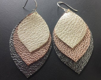 Leather Earrings - Mixed Metal Leather Earrings - Metallic Leather Earrings