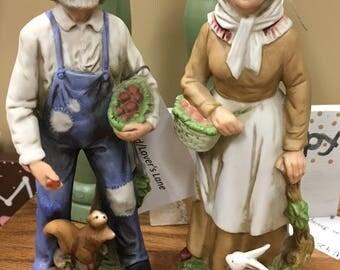 Vintage Porcelain Farm Couple Figurines Set Homco for Home Interiors Home Decor Collectible Figurines