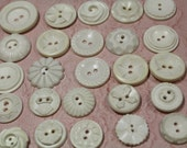 White Plastic Buttons 30 Vintage White Buttons