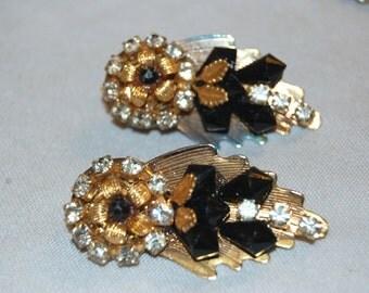 Vintage / Layered / Black / Clear / Earrings /  Old Jewellery / Jewelry / Rhinestone