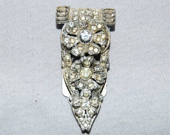 Vintage / Large / Art Deco / Flowers / Dress Clip / Clear / Bridal / Wedding / Rhinestone / Sparkling / old jewelry
