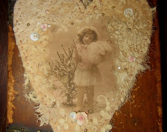 Christmas Winter Girl in Pink  Vintage Lace Heart Collage Ornament