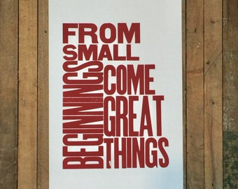 From Small Beginnings Come Great Things Letterpress Print Big Letters Typography Maroon Burgundy Wall Art Inspirational Sign