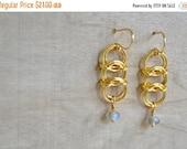 25% OFF - Chainmaille Earrings - Gold Centipede Triple Link Dangle Earring - AB champagne Czech Bead Drop Earring - By BALOOS