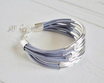 Light Grey Blue Leather Cuff Bracelet with silver tube beads - Multi Strand Bangle Women's Bracelet... by BALOOS