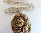 Pretty Vintage Boho Raised Embossed Brass Locket Necklace