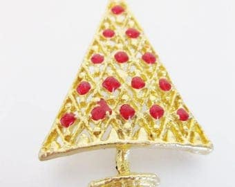 Vintage Red Enamel on Gold Tone Christmas Tree Brooch Pin