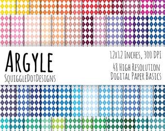 Diamond Pattern Digital Printable Background Paper Kit for Web Design, Crafts, and Scrapbooking Set of 48 - Argyle - Basics