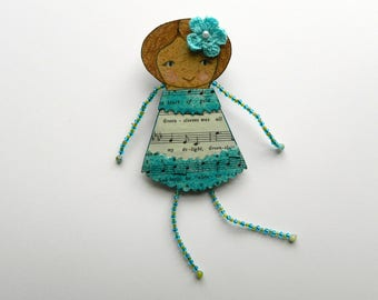 Paper doll brooch, Doll brooch, Quirky brooch, Whimsical brooch, Beaded doll pin, doll pin, Mixed media doll, Doll jewelry, Art doll pin