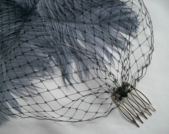 Black Birdcage Bandeau Veil - Russian Net Gothic Goth Funeral Bridal Bride Wedding Veil - Comb Attachment - Made to Order
