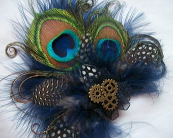 Navy Blue and Nude Mink Steampunk Peacock Feather & Watch Cogs Mini Fascinator Hair Clip - Made to Order