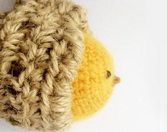 Fluffy Yellow Bird in Her Nest