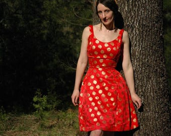 Size XS... 1950s Vintage Suzy Perette Dress... 50s Designer Red and Gold Party Dress... Fire and Gold
